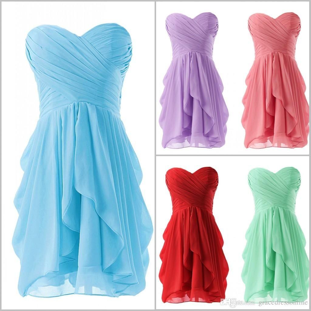 Short chiffon bridesmaid dresses cheap sweetheart plus size