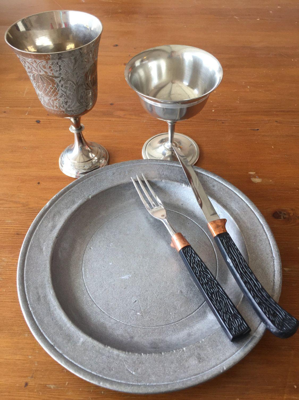 Feast gear SCA set of 5 items medieval kitchen renaissance middleages tableware feastgear pewter plate goblet wine goblet utensil & Feast gear SCA set of 5 items medieval kitchen renaissance ...