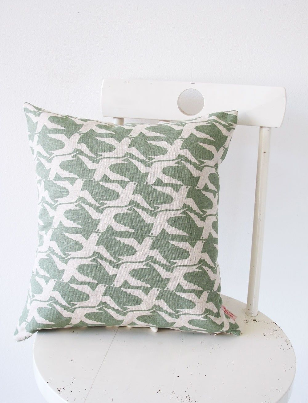 Cushion cover xcm cloudbirds in verdigris by skinnylaminx