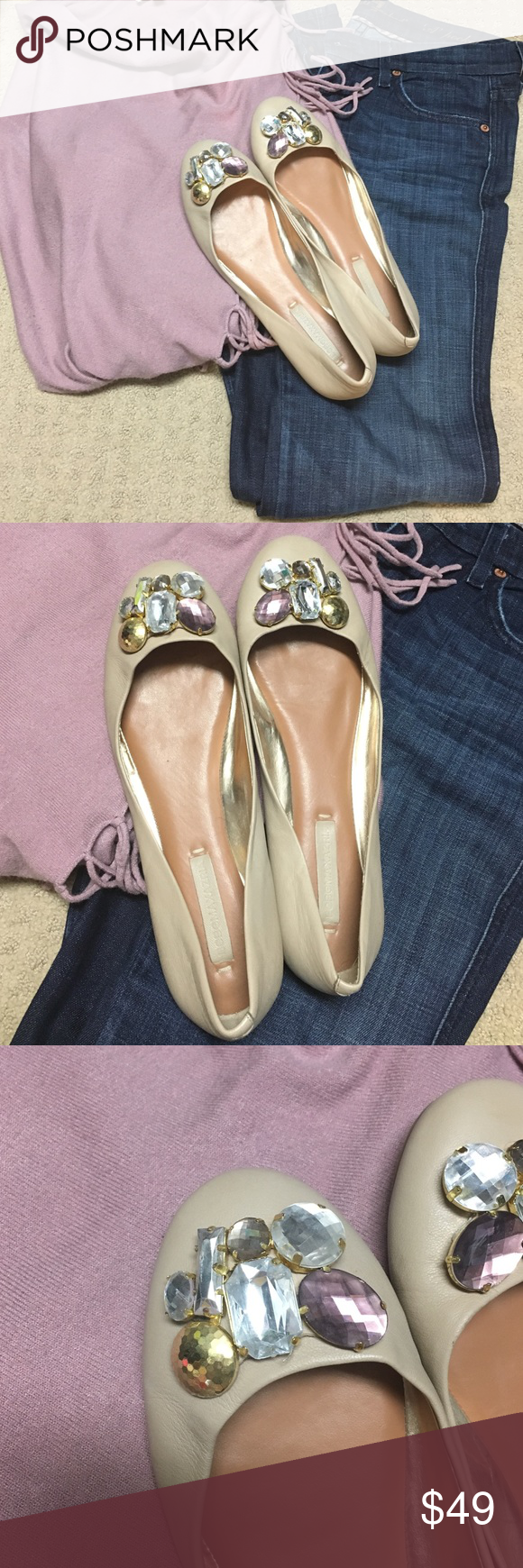 BCBG nude flats These are beautiful BCBG nude flats with diamond accents. Size 9.5. Only worn once and realized they were to small. Sadly they must go. BCBG Shoes Flats & Loafers