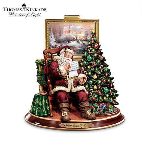 Thomas kinkade illuminated animated musical santa figurine