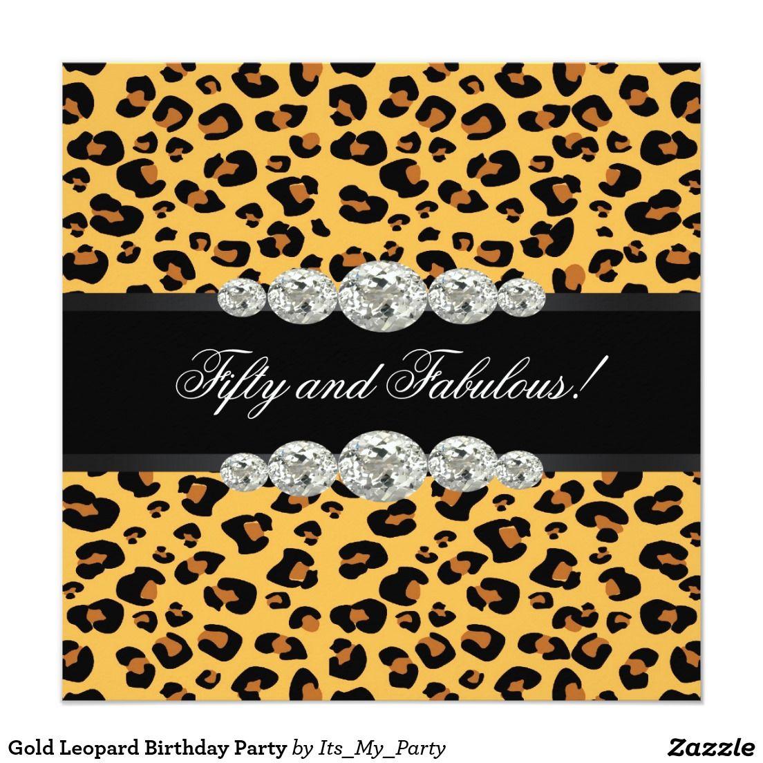 Gold Leopard Birthday Party Card | Leopard birthday parties, Leopard ...