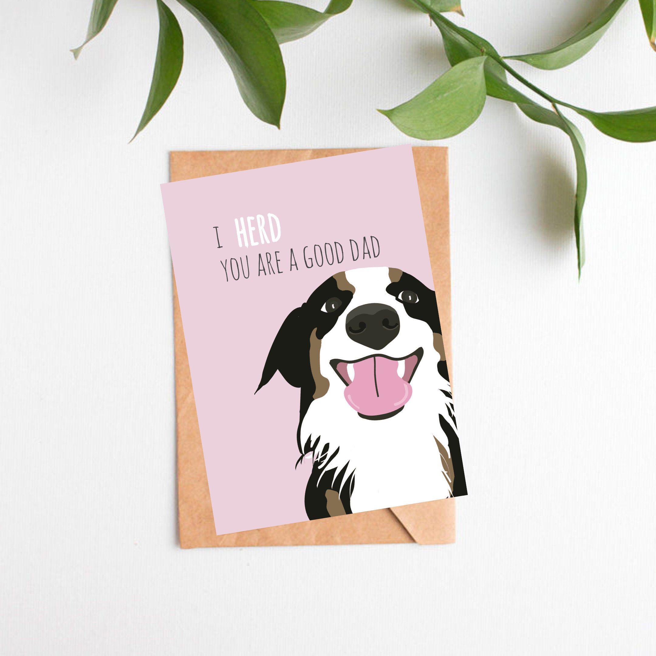 Australian shepherd fathers day card husband gift