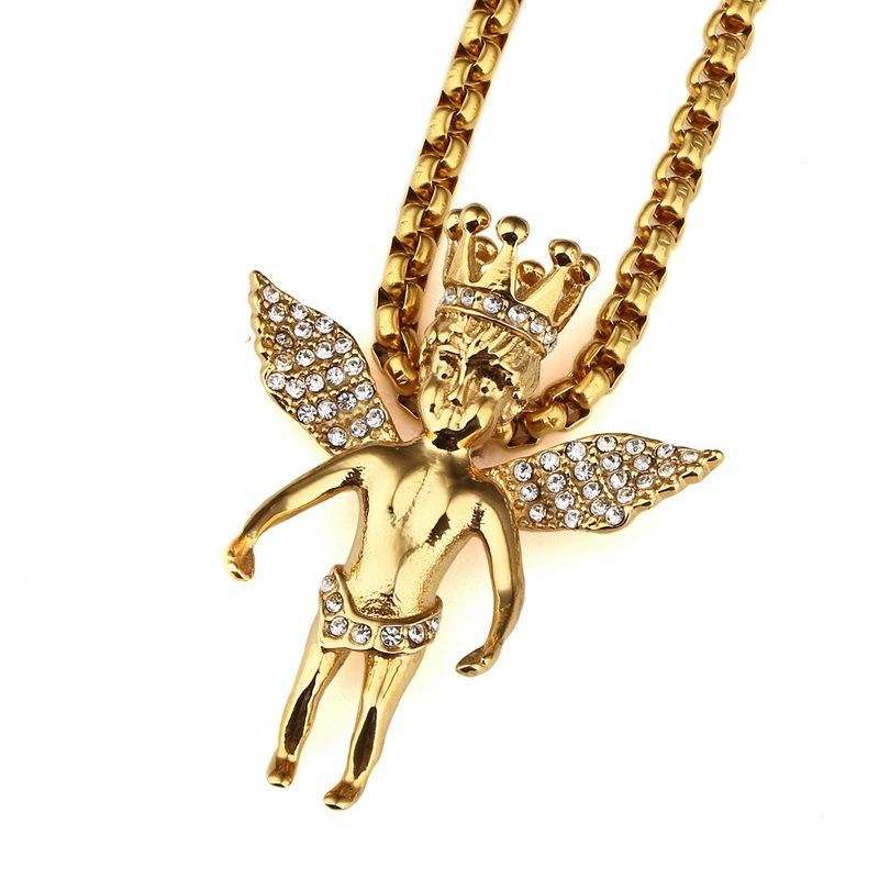 New Style Gold Iced Out Crown ANGEL BABY Pendants Hip Hop Charm ...