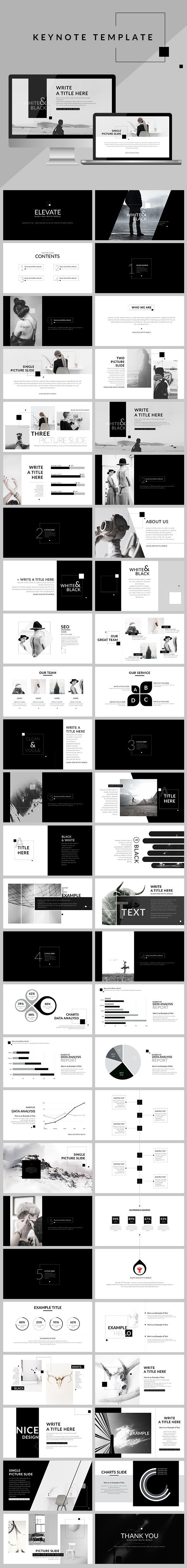 black & white - clean keynote template | minimal, keynote design, Presentation templates
