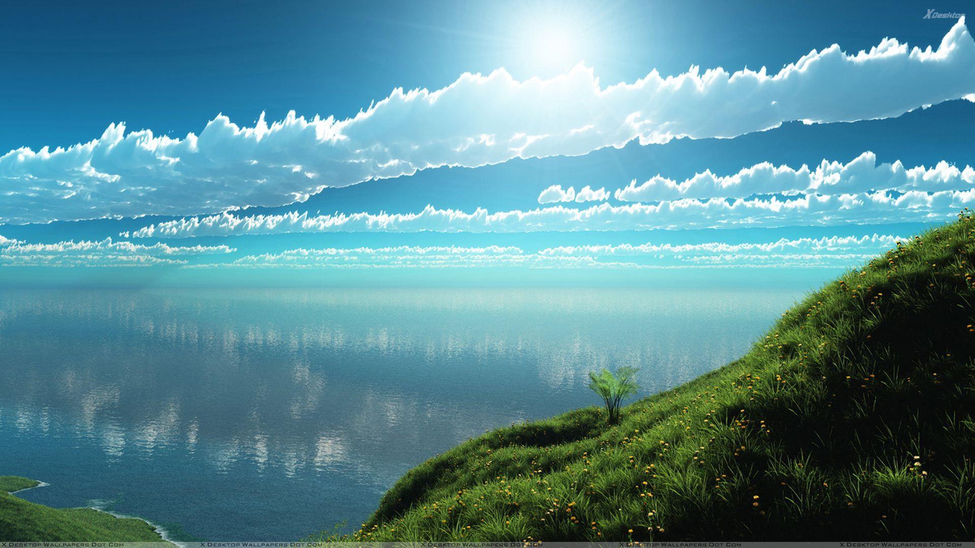 Beautiful Morning Scene Near Sea Wallpaper Gambar