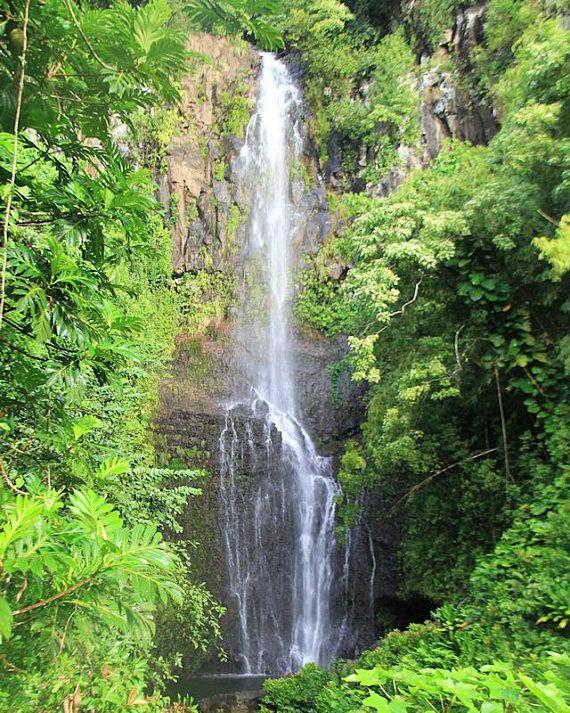 Wailua Waterfall Photography Maui Water Cascade Hawaii Nature Landscape Tropical Hawaiian Islands Hana Highw Waterfall Photography Waterfall Nature Photography