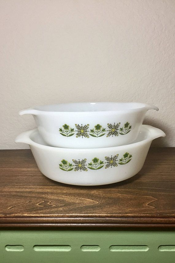 Fire King Bowls / 2 Vintage Meadow green White Glasbake Bowls ...