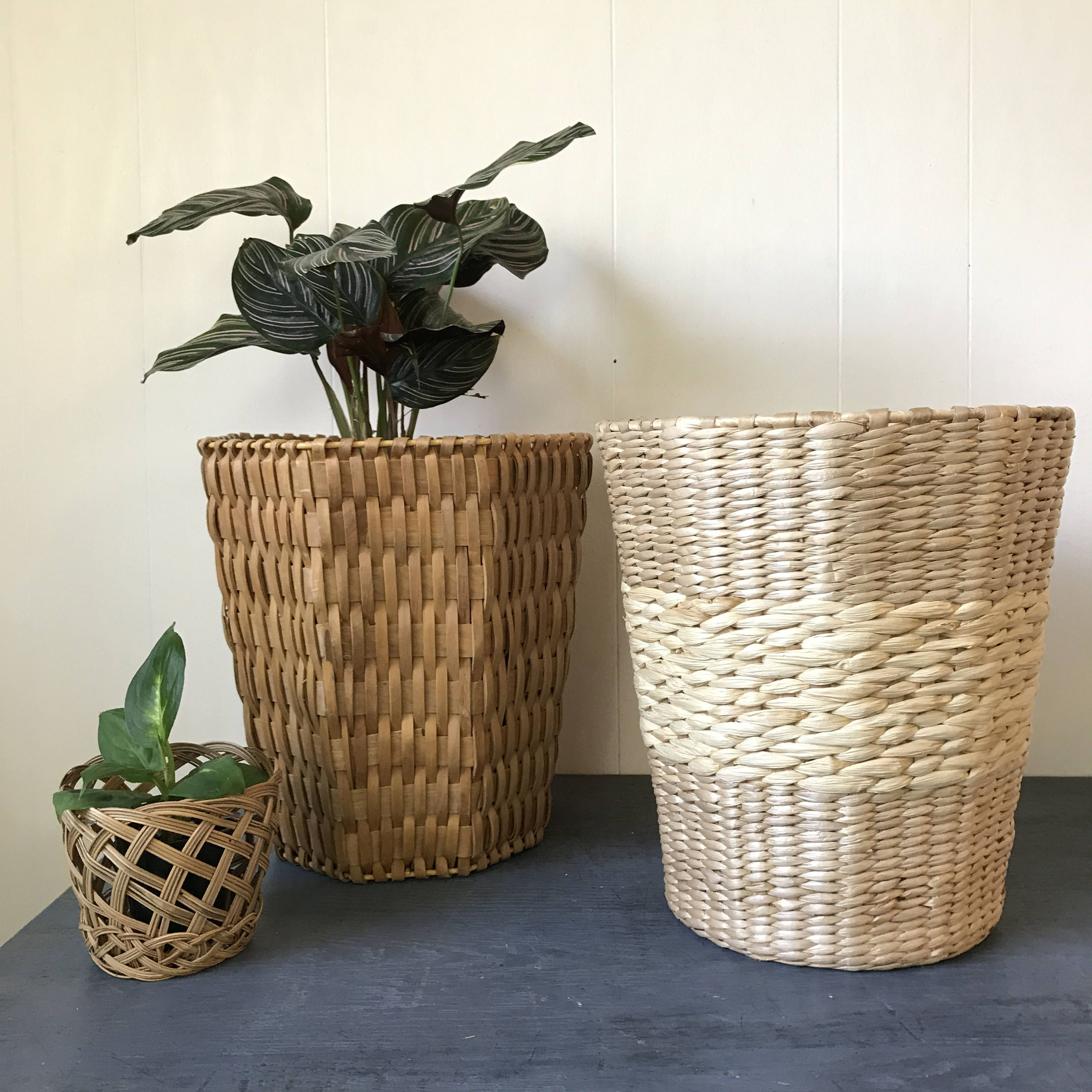 Woven Bamboo Baskets Round Octagon Planter Rattan Raffia Wastepaper Basket Plant Holder Plant Holders Bamboo Basket Wastepaper Basket