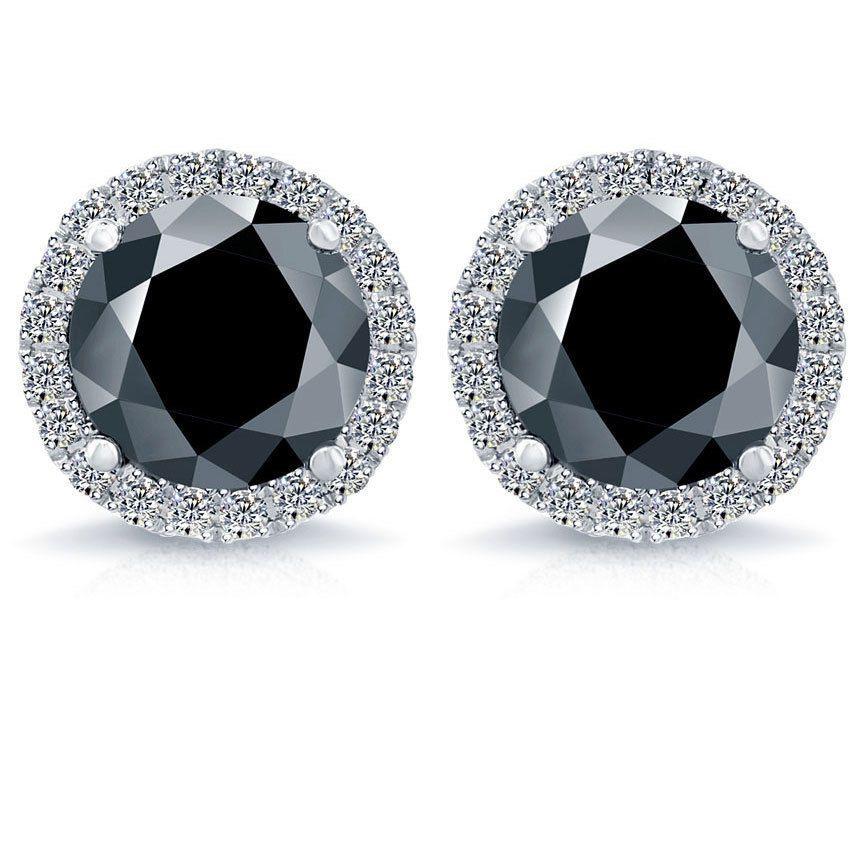 3 05 Carat Fancy Black Diamond Pave Halo Diamond Studs Earrings 18k White Gold Lioridiamondstm Stud Diamond Earrings Studs Diamond Studs Halo Earrings Studs