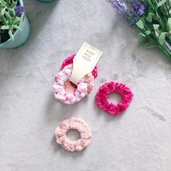 Velvet Crochet Scrunchies - set of 3 #crochetscrunchies