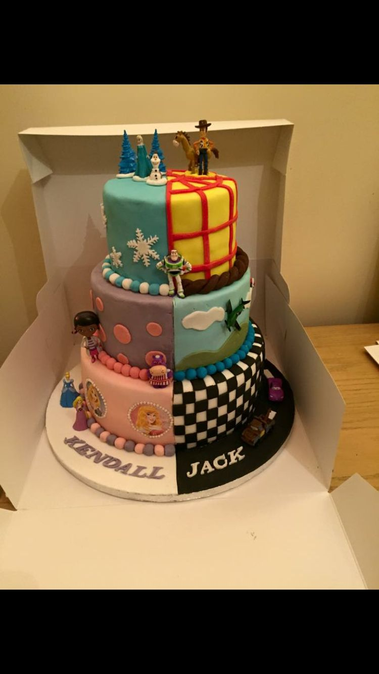 Half Boy And Half Girl Cake 4th Birthday Birthday Cake
