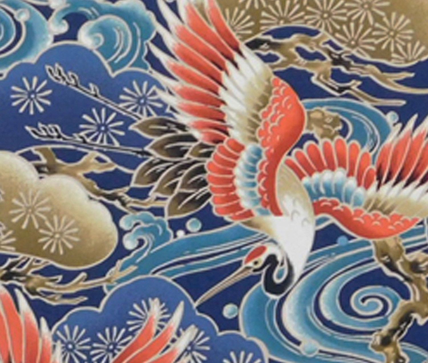 Japanese Fabric Swirling Waters Waves Colorful Cranes Pine Trees
