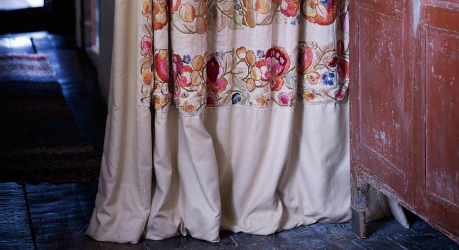 Not the fabric so much, but curtains as divisions does work nicely. Curtain by Lucy Bathurst | Retrouvius
