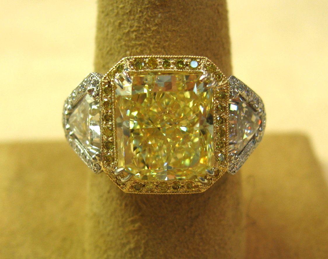 6.09 Carat Radiant Cut Diamond GIA Fancy Yellow VS1 Platinum & 18K Ring