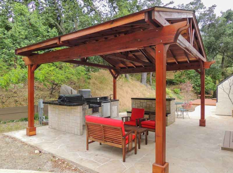 Del Norte Outdoor Kitchen Pavilion 6920 In Doug Fir Without Roofing Material Pergola Outdoor Pavilion Pergola Patio