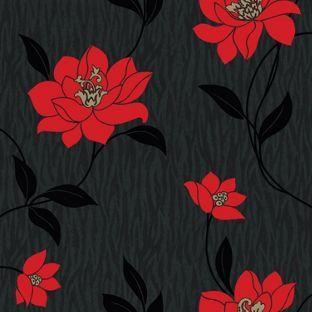Vymura Zinnia Wallpaper Red And Black From Homebase Co Uk