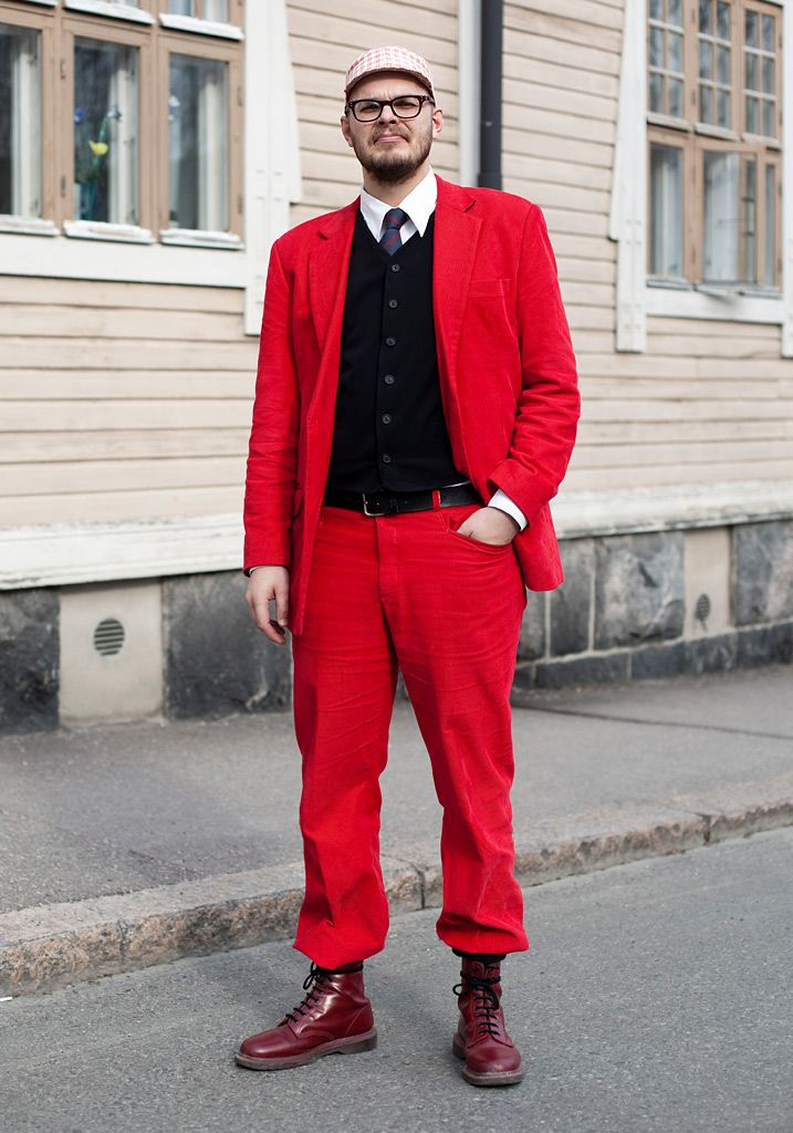 "From Hel Looks: Immu, 33  ""I had my hat and suit made in Bangkok. It's so hard to find bright red suits."""