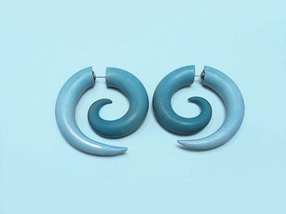 Spiral Blue Fake Gauge Earrings by TechnicolorCafe on Etsy