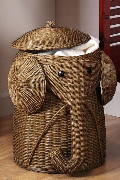 Elephant hamper operates as decoration and as a laundry basket best of both worlds for the - Elephant wicker hamper ...