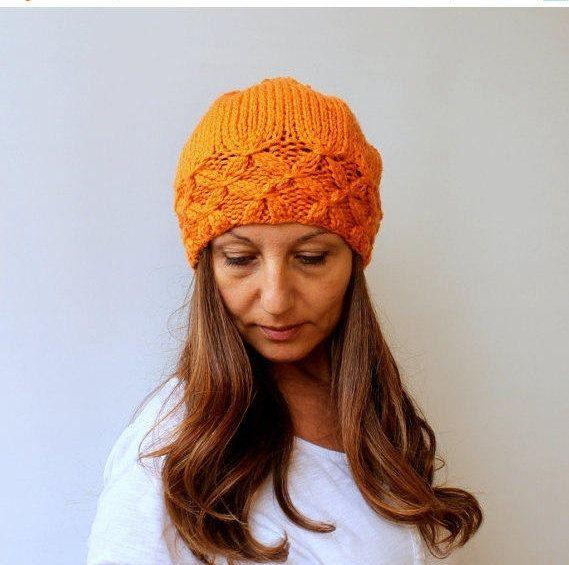 06c3d7d84e9c8 Women s Knit Hat Winter Hat Slouchy Beanie Pompom Hat Orange Beret Chun