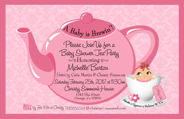 Tea party baby shower invitation girl baby shower pinterest tea party baby shower invitation filmwisefo Gallery