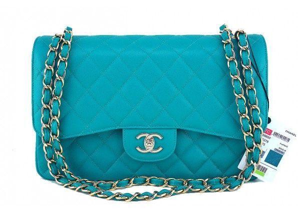 edff03585103 NWT 17C Chanel Turquoise Blue Caviar Jumbo 2.55 Classic Double Flap Bag.