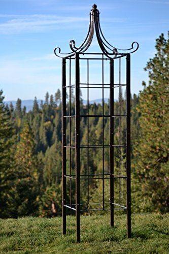 H Potter Trellis Wrought Iron Ornamental Large Garden Obelisk For Climbing Plants Large And Heavy Metal Trellis D In 2020 Metal Trellis Garden Obelisk Obelisk Trellis
