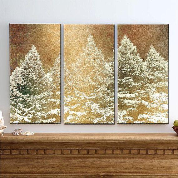 Winter Wonderland - Large Canvas Art, 3 Panels, Pine Trees, Winter ...