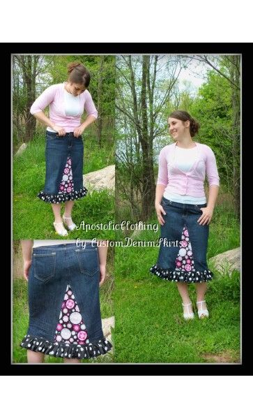 denim skirt - Apostolic Clothing