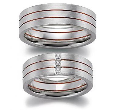 Brushed rose slits wedding ring