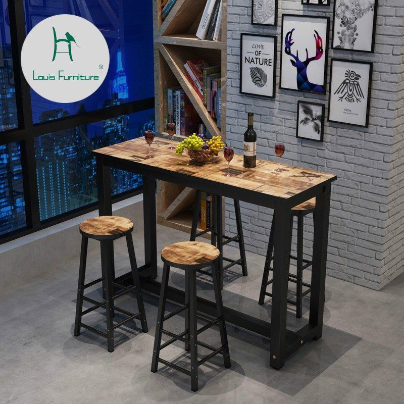 Online Shop Industrial Style Retro Bar Table Coffee Shop Solid Wood Wall High Bar Tables Aliexpress Mobile High Top Table Kitchen High Top Tables Bar Table
