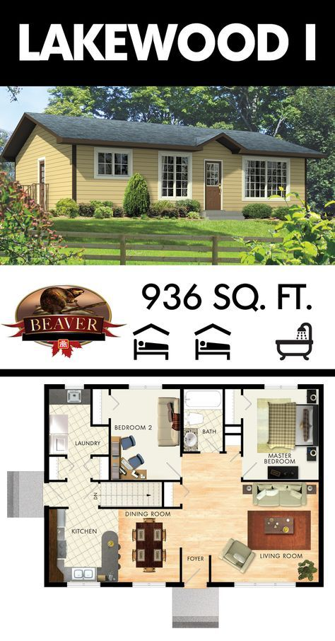 The Lakewood I Is A Country Bungalow Just Under 1000 Square Feet Much Like The Lakewood Ii It Small House Floor Plans House Plans Beaver Homes And Cottages
