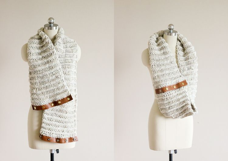 Free Pattern] Crochet Leather Snap Scarf – Tutorial Step by Step ...
