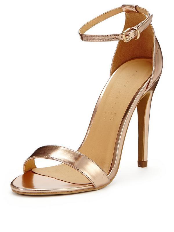 54b02293e9e3 Shoe Box Isabella Minimal Ankle Strap Heeled Sandals - Rose Gold