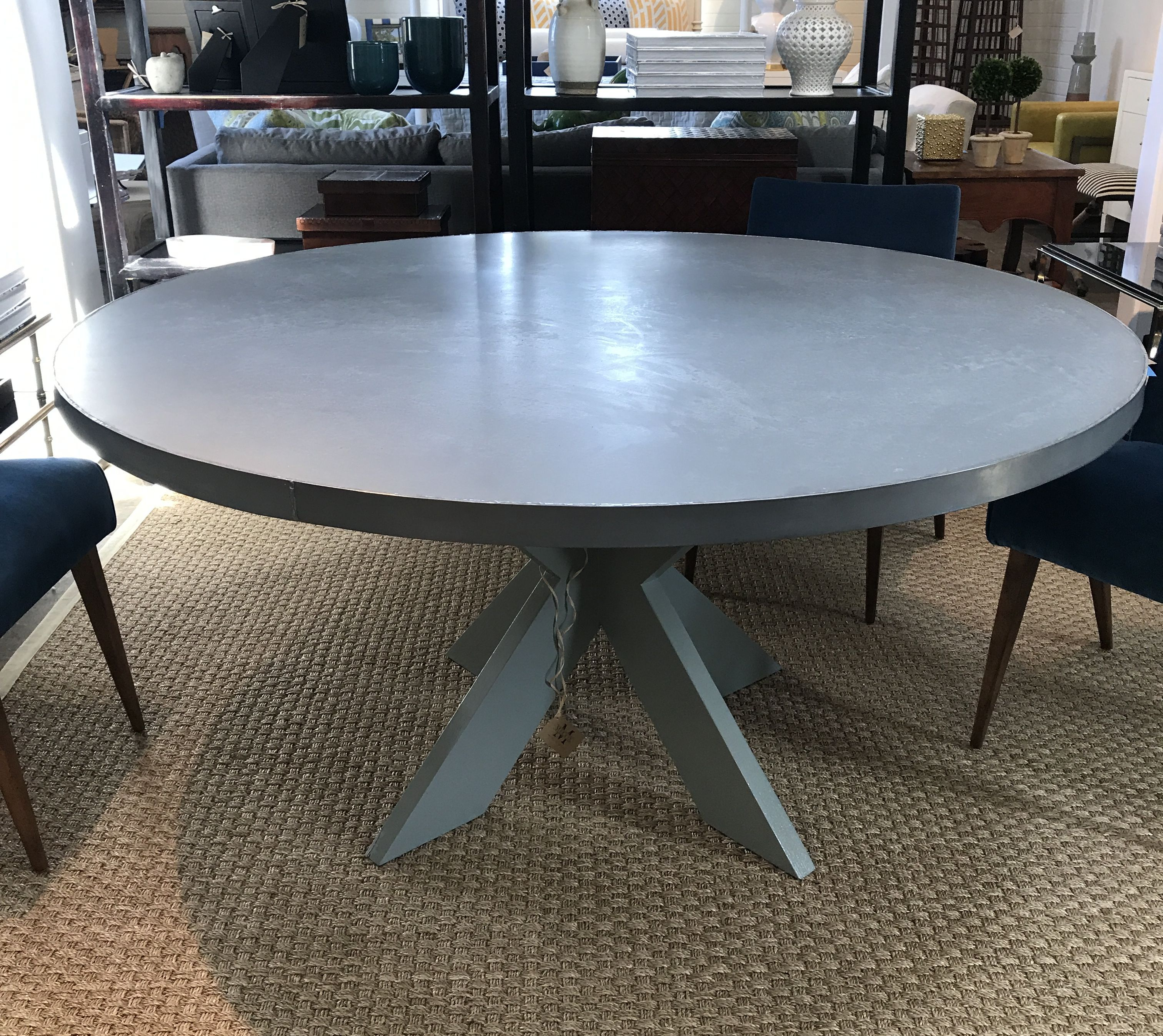 Custom Round Dining Table Smooth Zinc Top With Nail Heads Surrounding Side Of Grey Lacquered Cross Base Sizes Available Can Be Made For Outdoor