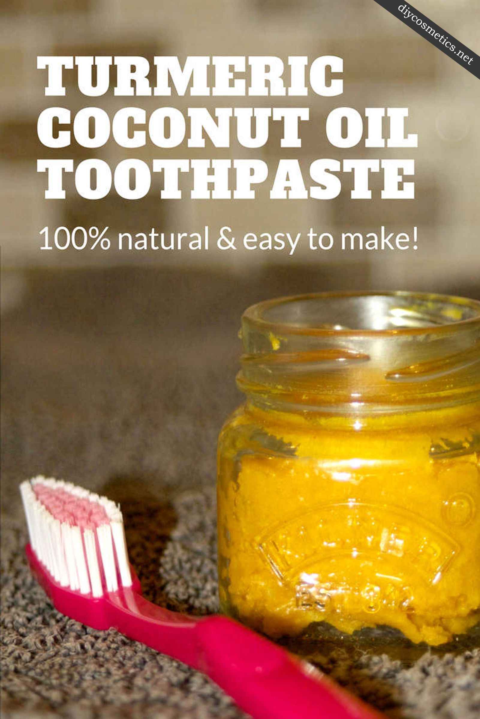 Coconut oil toothpaste with turmeric for whiter teeth
