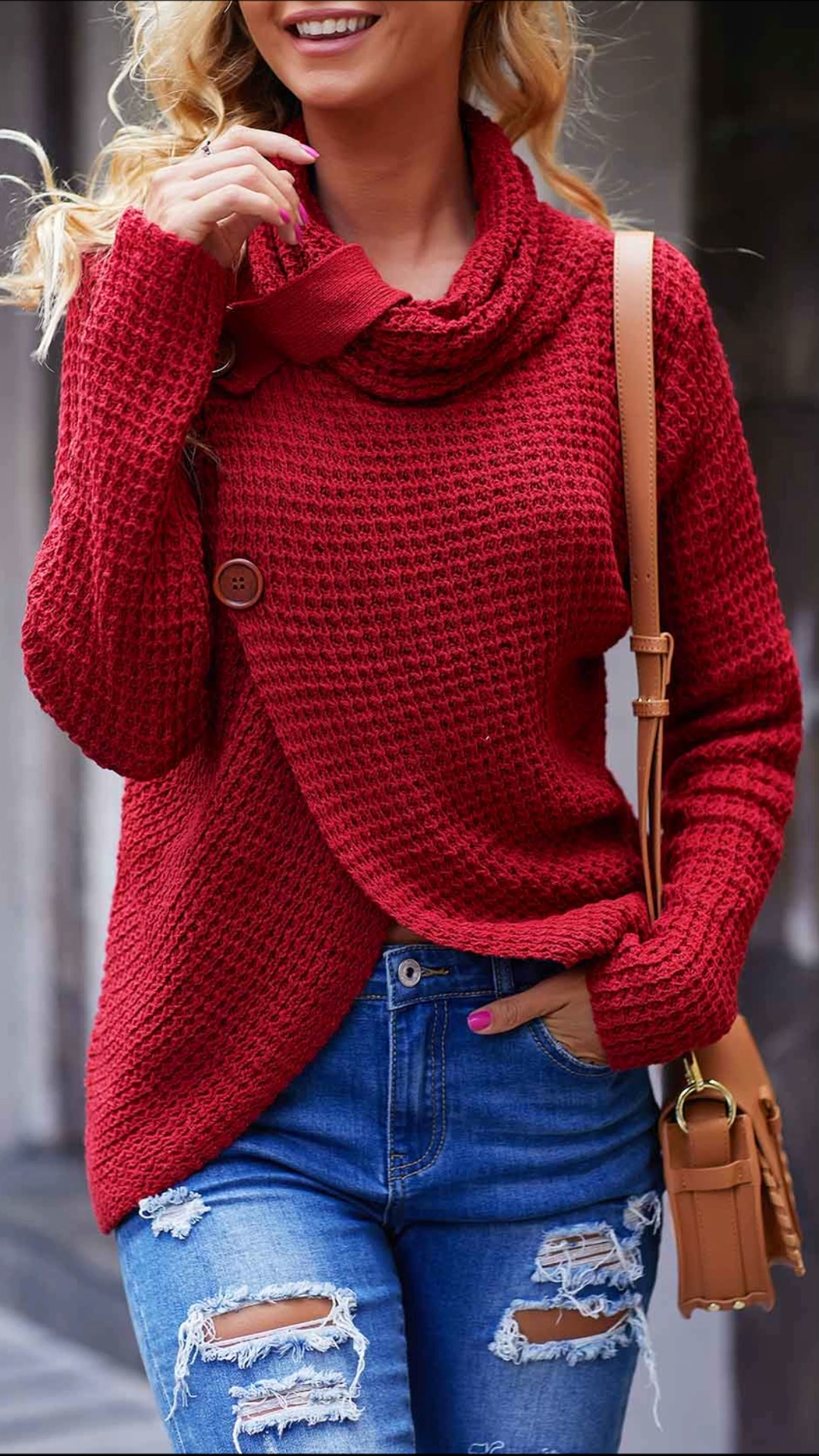 Photo of Button Detail Asymmetric Hem Wine Red Sweater