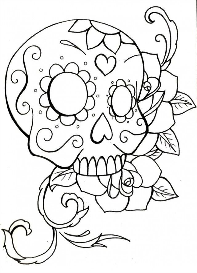 Refreshing image pertaining to free printable sugar skull coloring pages