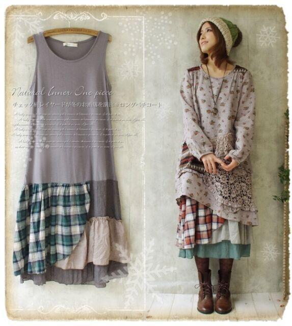 Photo of Mori Girl Floral plaid Sleeveless Dress Lagenlook Basis Base…