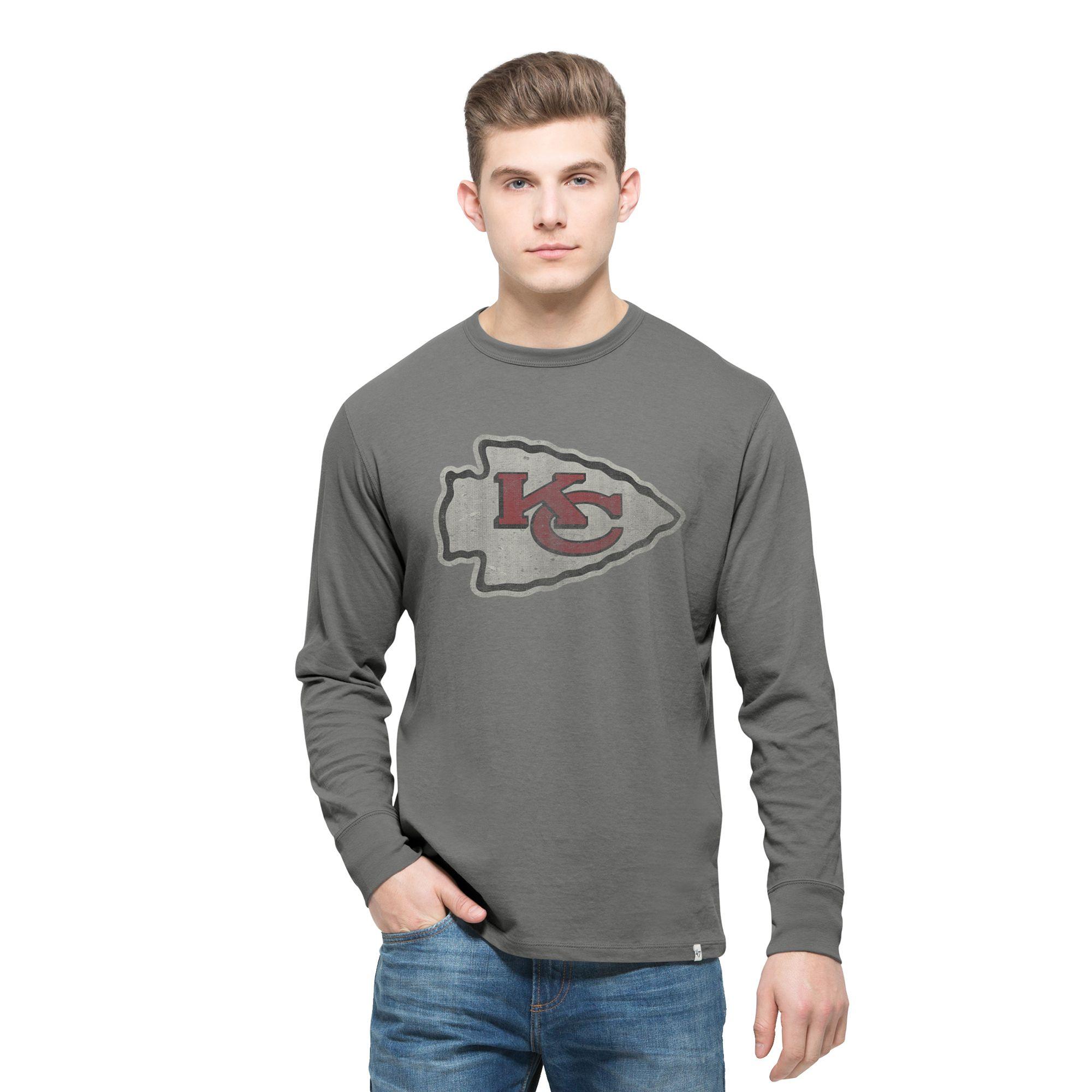 NFL Kansas City Chiefs '47 Basic Logo Flanker Long Sleeve T-Shirt - Gray