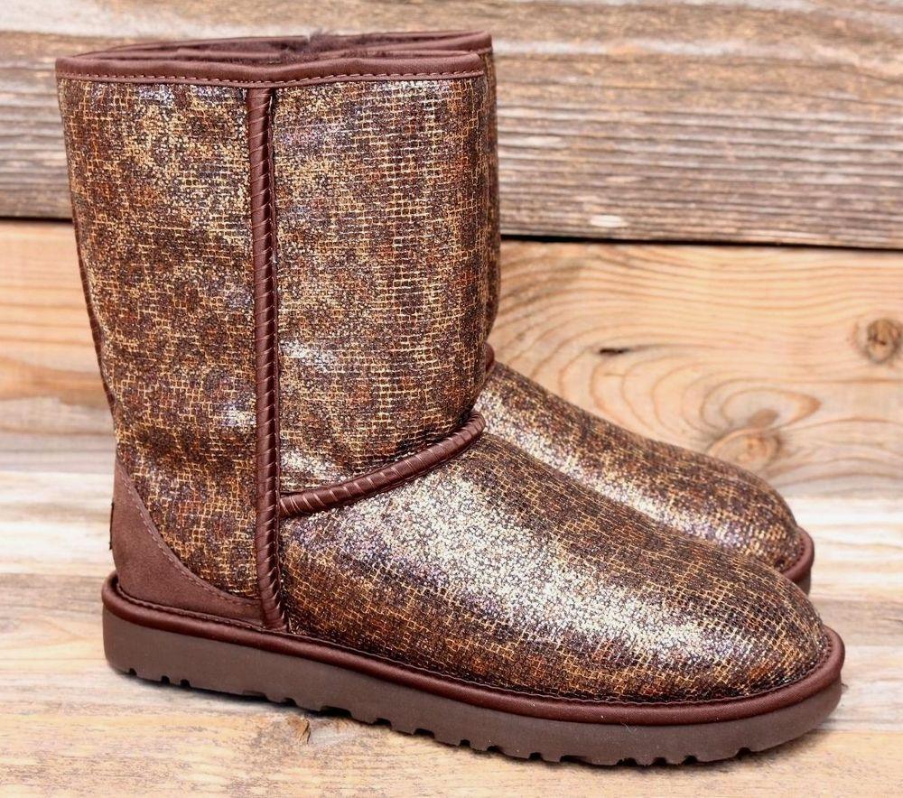 203b8fc18f4a UGG Australia Womens Classic Short Glitter Bronze Leopard Boots US 8 UK 6.5  EU39 #UGGAustralia #Comfort