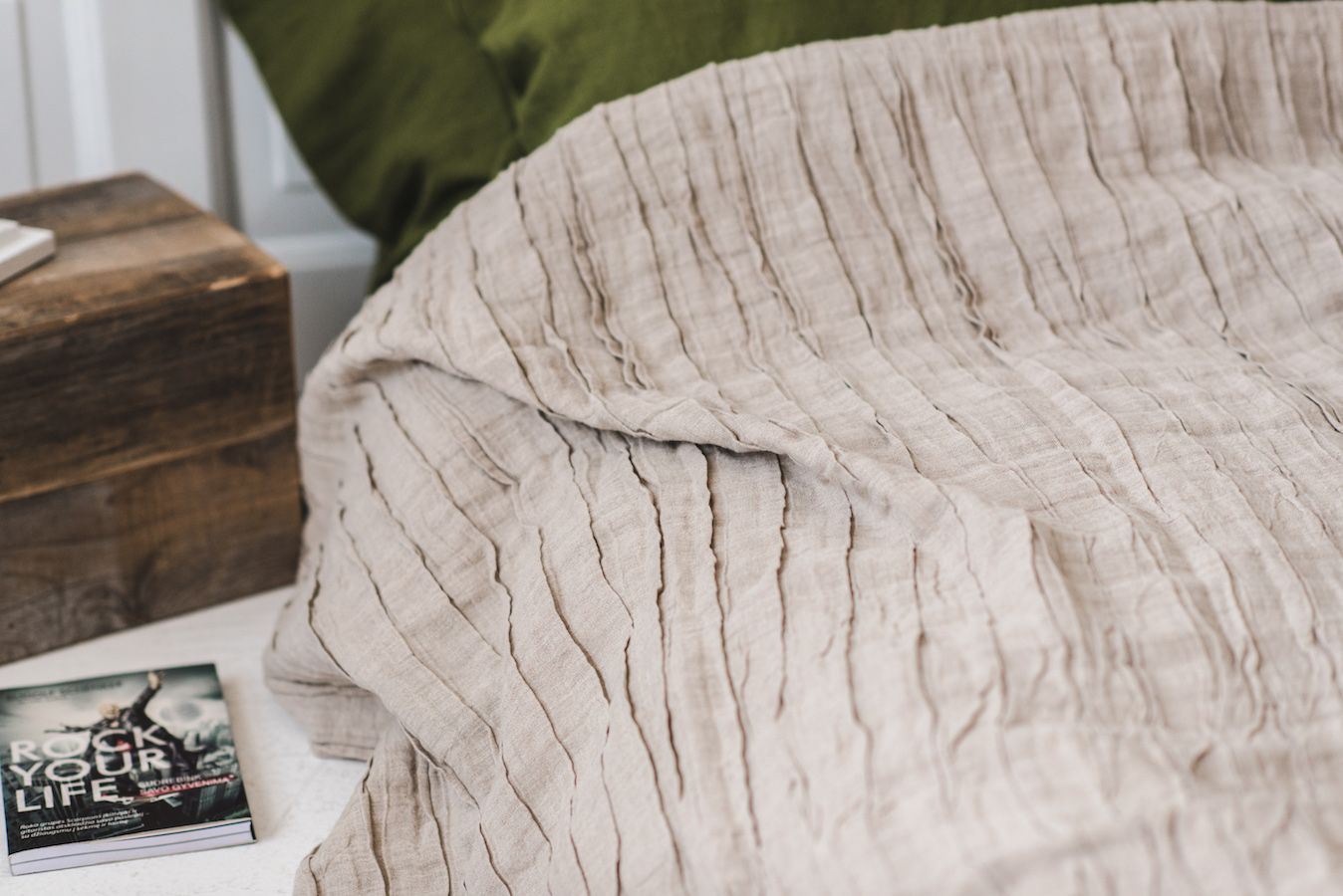 Linen Bedspread Ruffled Bed Cover Pick Your Color Bed Spreads Linen Bedding Bed