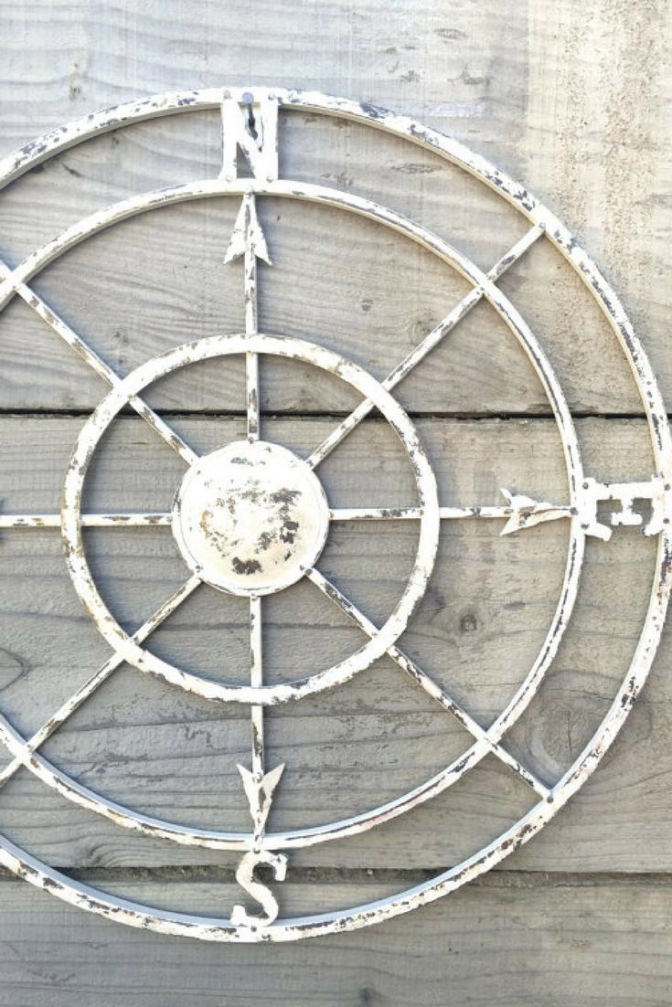 Nautical Compass White Wall Art Shabby Chic Nautical Decor