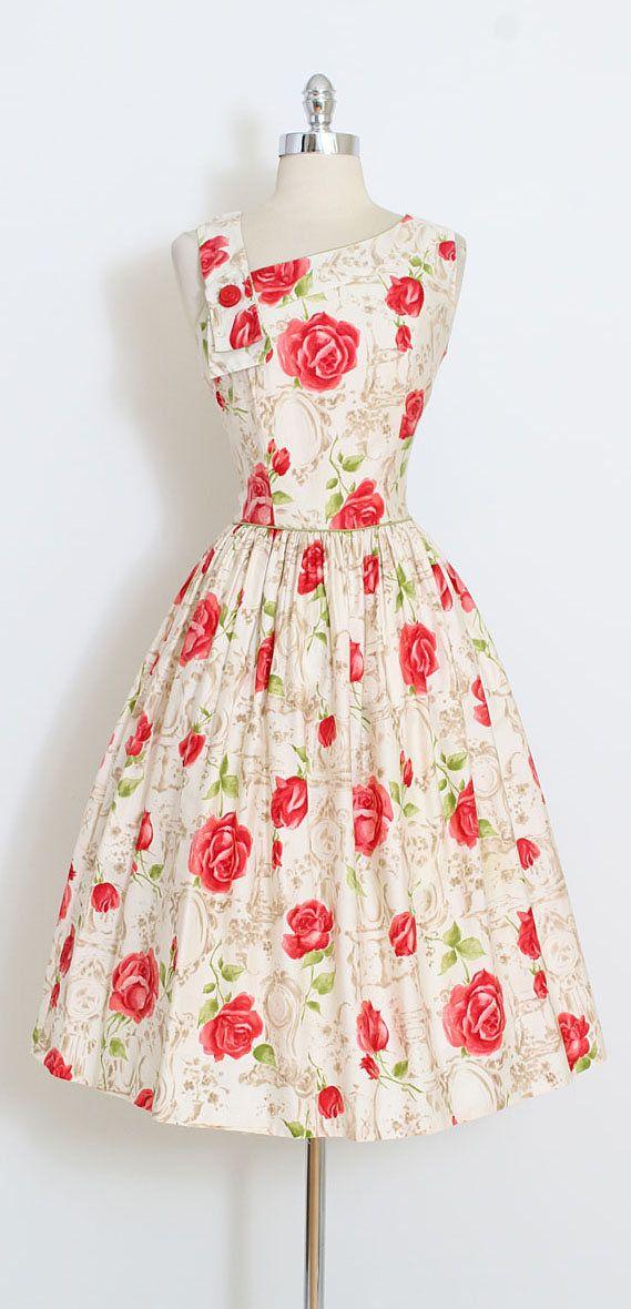 Vintage 50s Dress | 1950s rose print dress | Nelly Don novelty print ...