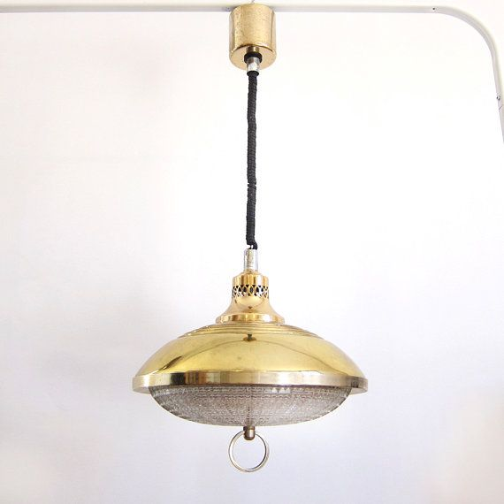 Height adjustable UFO lamp in working order 1960 / Large Italian Fratelli Giannelli, Firenze lamp / Atomic era Flying saucer Space age