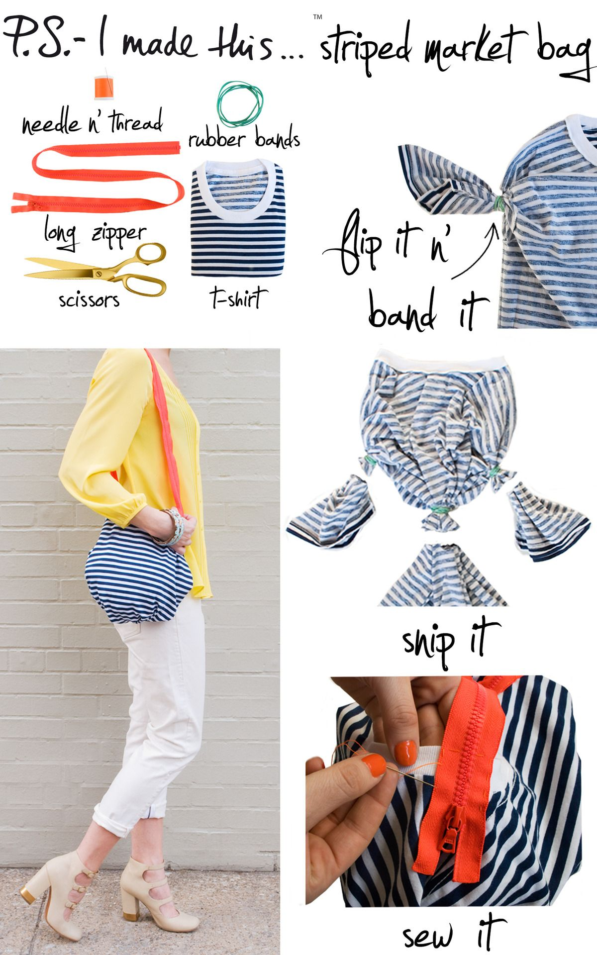 From t-shirt to small bag. Cute, but I wouldn't use a zipper as a strap...and I'd sew the gathers with embroidery floss or upholstery thread rather than using rubber bands.