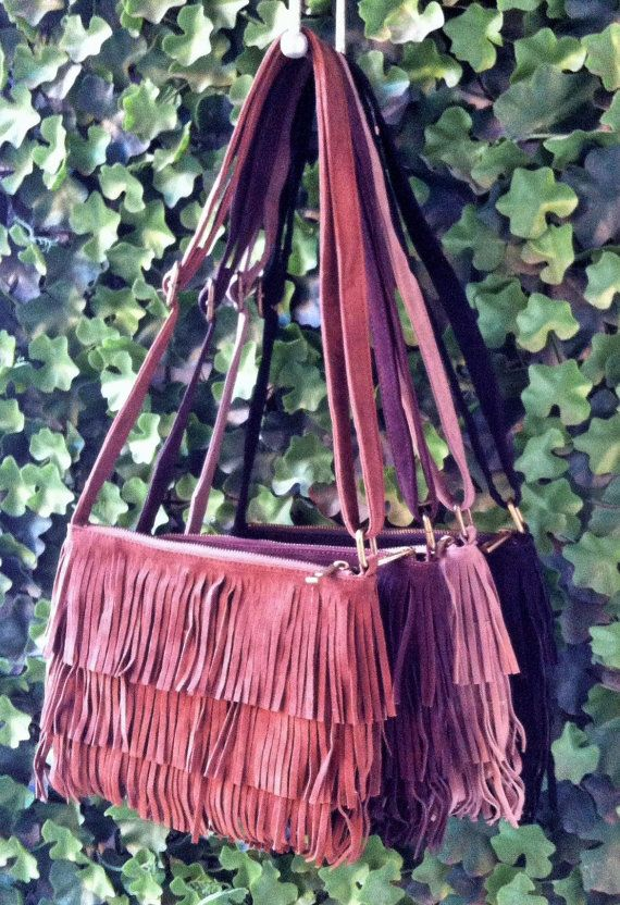 Suede leather Bag with Tassels Boho Fringe leather от WildandSpry