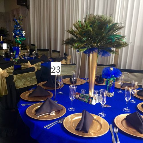 Royal Blue And Gold Decorations Peacock, party, sweet 16 ...