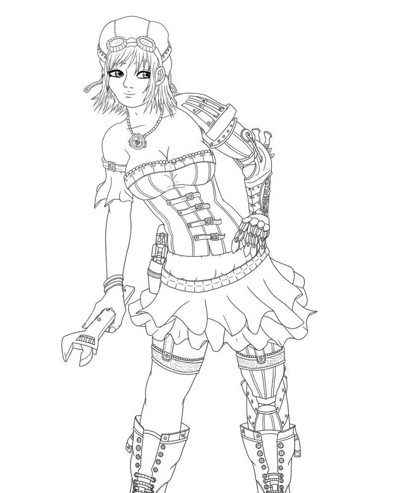 steampunk girl coloring pages - photo#18